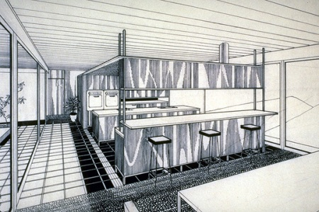 The Stahl House - Illustrated Interior