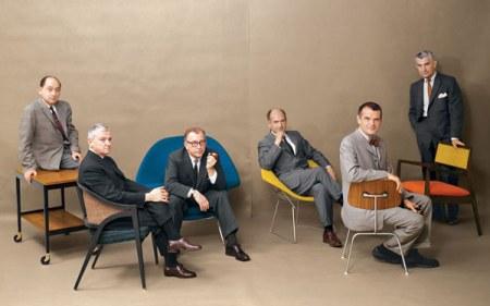 Fra venstre til høyre: George Nelson, Edward Wormley, Eero Saarinen, Harry Bertoia, Charles Eames & Jens Risom