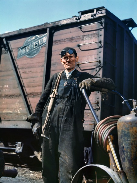 "Via Shorpy: Chicago, April 1943. ""Mike Evans, a welder, at the rip tracks of the Proviso Yard, Chicago & North Western R.R."" 4x5 Kodachrome transparency by Jack Delano for the Office of War Information."""