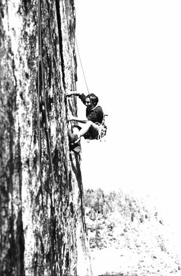 Yvon Chouinard climbing in Yosemite in the 1960s