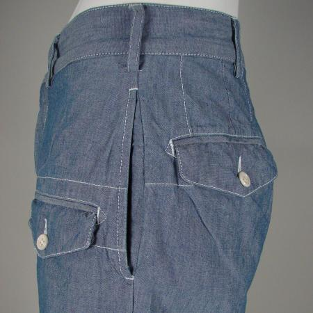 ENGINEERED GARMENTS BLUE CHAMBRAY GHURKA SHORTS DETAIL