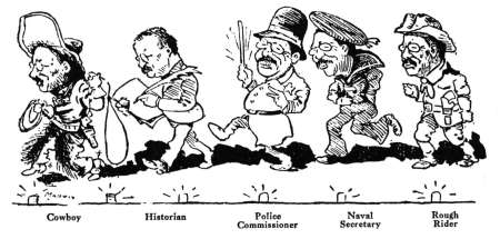 1910 cartoon shows Roosevelt's multiple roles to 1898