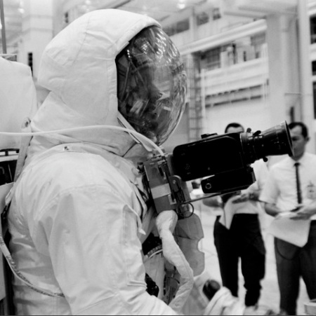 Neil Armstrong, seen here with a Hasselblad 500 EL, during training in Houston