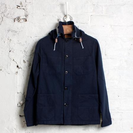 Hooded Workwear Jacket Indigo