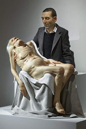 Sam Jinks, Still Life (Pieta), 2007 silicon, paint & human hair 160.0 x 123.0 cm